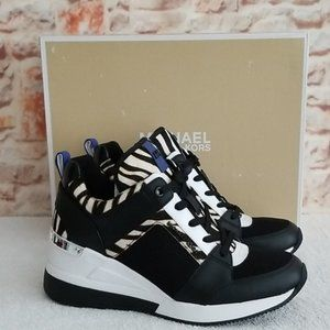 New Michael Kors Georgie Zebra Wedge Sneaker